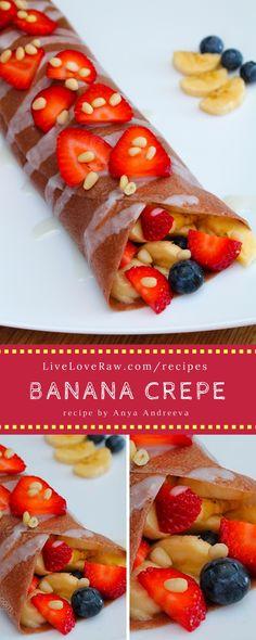 Free raw vegan banana crepe recipe: http://www.liveloveraw.com/raw-vegan-recipes/banana-crepes-fruit/