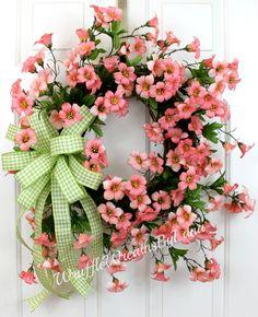 Pink Dogwood Grapevine Wreath, Dogwood Grapevine Wreath, Spring Dogwood Wreath, Easter Dogwood Wreath, Mother's Day Wreath, Spring Grapevine by WruffleWreathsbyLana on Etsy