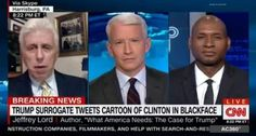 (L-R) Jeffrey Lord, CNN host Anderson Cooper, and Charles M. Blow discuss Donald…