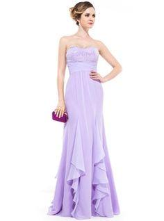 Empire Sweetheart Floor-Length Chiffon Evening Dress With Beading Sequins Cascading Ruffles