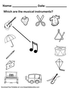 Fully customize any of our Kids Worksheets by utilizing the fun tools that we offer. This Musical Instruments Worksheet image is free to print out. Printable Preschool Worksheets, Music Worksheets, Kindergarten Worksheets, Worksheets For Kids, Instrument Craft, Homemade Musical Instruments, Preschool Music, Piano Teaching, Elementary Music