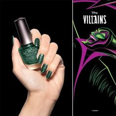 Chanel Your Inner Villain With The Villains Collection From Morgan Taylor! Disney Inspired Nails, New Nightmare, Morgan Taylor, Halloween Nail Art, Soak Off Gel, Professional Nails, Love To Shop, World Of Color, Disney Villains