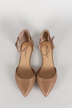Breckelle Leatherette Pointy Toe Ankle Strap Flat