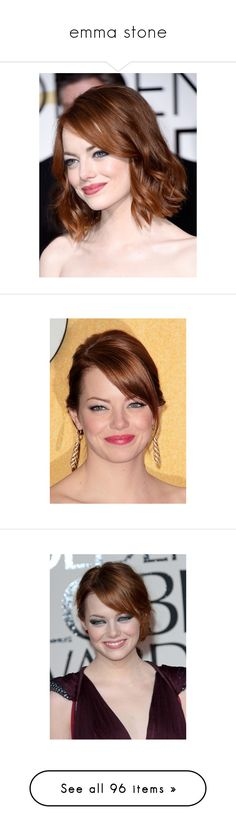 """""""emma stone"""" by maria-cmxiv ❤ liked on Polyvore featuring hair, emma stone, hairstyles, celebrities, people, backgrounds, movies, electronics, filmes and movies/tv shows"""
