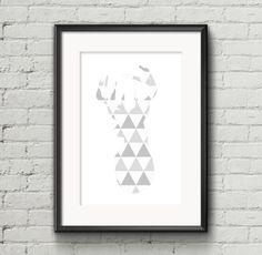 Deer Head Print Black White Grey Geometric by AnnyDigitalDesign