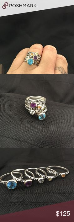 Silver & Gold Multi-Gemstone Stackable Rings Silver & Gold Multi-Gemstone Stackable Rings (topaz, amethyst, citrine, aquamarine, peridot), Size 7, all 5 sold as a set, EUC Jewelry Rings