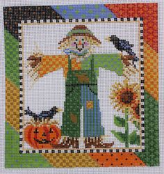 Kelly Clark Needlepoint Patch E. Scarecrow Hand Painted Needlepoint Canvas