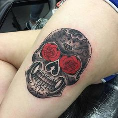 Beautiful Sugar Skull Tattoo by Lee Aitken