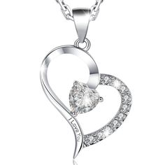 White Gold Luxury Necklace w Heart Pendant Engraved w I Love You Women Jewelry -                        While silhouettes are kept simple, tailored separates and T-shirt dresses go all clean-lined in crisp cotton, silk and... - http://saletrendy.com/product/white-gold-luxury-necklace-w-heart-pendant-engraved-w-i-love-you-women-jewelry/