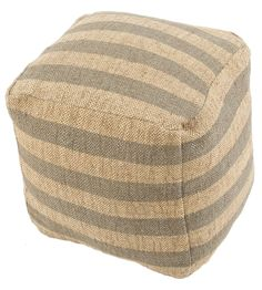 Gray Striped Wool Cube Pouf   Jaipur Rugs   Home Gallery Stores