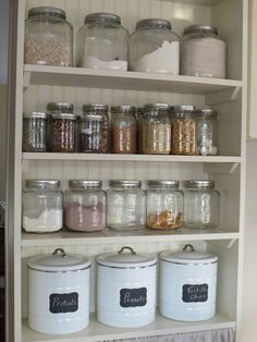 jars, jars and more jars! At least one doorless kitchen cabinet for every day items!