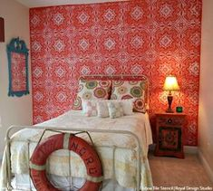 Our Lisboa Tile Stencil is a beautiful classic tile stencil design inspired by the Portuguese tiles, known as azulejos, that line the walls of Lisbon, Portugal. Spanish Home Decor, Spanish Interior, Stenciled Floor, Tile Projects, Portuguese Tiles, Red Walls, Painted Floors, Tile Patterns, Floor Rugs