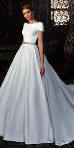 crystal design bridal 2016 short sleeves bateau neckline elegant chic simple a line ball gown wedding dress open back chapel train (roma) fv