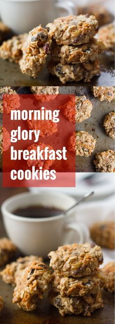 These morning glory breakfast cookies are made with an oat flour base, with carrots, apples, raisins, nuts and coconut. They're light, fluffy, just sweet enough, and make a perfect grab-and-go breakfast.