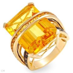 Fine Ring with 8.75 CTW Precious Stones - Genuine Clean round Diamonds, Amber and Citrine Made of 14K Yellow Gold.