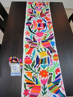 Otomi Fabric Table Runner Embroidered in Mex 100 Cotton FolkArt OOAK TR92 | eBay