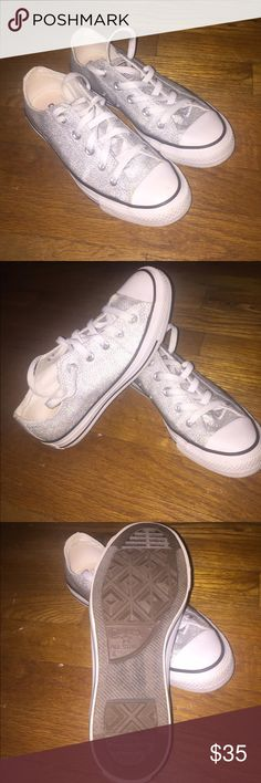 Converse All Star Worn once! Like new. Purchased for a Halloween costume in 2015 and never worn again. These are a men's size 4 with silver/glittery canvas body. Super cute and unique! Converse Shoes Sneakers