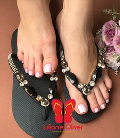Nice Toes, Pretty Toes, Flip Flop Sandals, Shoes Sandals, Heels, Decorating Flip Flops, Indian Shoes, Foot Pics, Shoe Crafts