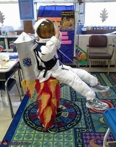 Sue: My youngest son Paul wanted to be an astronaut, we wanted to give it a twist. We made his legs flames, gave him fake legs mad from PVC pies and...