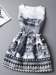 Graphic Building Printed Sleeveless Dress. Shop Itstyle.co with big discount!
