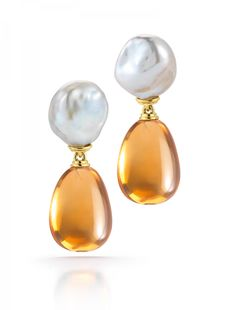 Seville Drop Earrings A pair of Seville Drop Earrings with Pearl and Citrine set in 18K Yellow Gold. Signed Seaman Schepps.