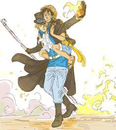 Sabo strikes a badass pose while baby brother casually rides piggyback