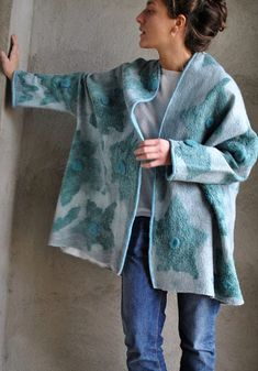 Felted jacket Wearable art Felted short coat Eco fashion