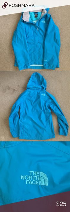 North Face Raincoat Sky blue Raincoat, great condition, lightly worn North Face Jackets & Coats