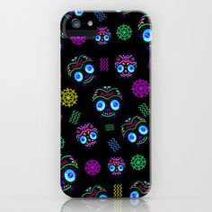Calaverita Dark Pattern iPhone & iPod Case by carlos lerma - $35.00