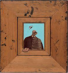 Llyn Foulkes. Ba Ja Ja Ja, 1977. Oil on photograph, mounted on wood and cut sheet metal, in wood frame. 13 1⁄2 x 12 1⁄2 x 1 1⁄2 in. (34.3 x 31.8 x 3.8 cm). Solomon R. Guggenheim Museum.
