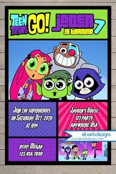 Teen Titans Go Birthday Invitation