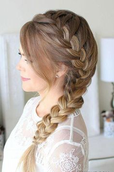 28 Hairstyles That'll Look Gorgeous With Your Easter Hat: Side French Braid #MiraHairOil Long Braided Hairstyles, Prom Hairstyles For Long Hair, Easy Hairstyles For School, Box Braids Hairstyles, Trendy Hairstyles, Homecoming Hairstyles, Wedding Hairstyles, Simple Hairstyles For Medium Hair, Hairstyle For Medium Length Hair