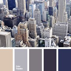 Classic palette that combines dark and lighter shades. This color scheme is suitable for a business line of clothing, also it can find its reflection in an. Blue Colour Palette, Colour Schemes, Color Combos, Grey And Brown Living Room, Beige Living Rooms, Room Colors, House Colors, Color Balance, Color Inspiration