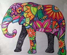 Resultado de imagen para elefantes hindues animados Deco Elephant, Elephant Love, Elephant Art, Elephant Paintings, Mandala Art, Elefante Hindu, Coloring Books, Coloring Pages, Wal Art