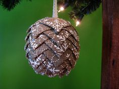 Pine Cone Christmas Ornament Canvas Snowflake Ribbon in by @kikiverde. Only $20 #christmas #ornament #decoration #gift