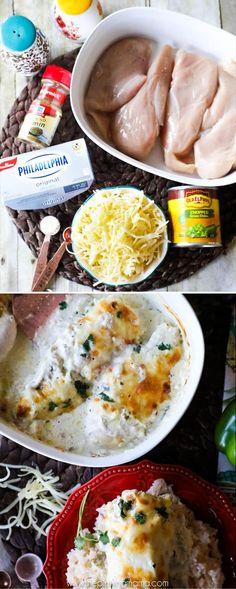 Green Chili Chicken Bake Recipe- Creamy, delicious, one dish quick and easy dinner recipe paleo dinner recipes Ketogenic Recipes, Low Carb Recipes, Diet Recipes, Cooking Recipes, Healthy Recipes, Recipes Dinner, Ketogenic Diet, Zoodle Recipes, Cooking Pasta