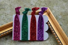 Elastic No Pull Hair Ties Set of 4 Glitter Purple by TheRusticVine, $4.25