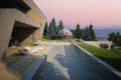 House & garden on a steep terrain on Behance Creative Landscape, The Dark Crystal, Abstract Landscape, Garden Landscaping, Home And Garden, Exterior, Places, Outdoor Decor, Modern