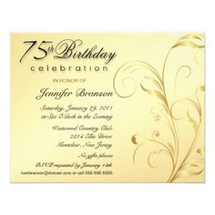 Elegant 75th Birthday Surprise Party Invitations Parties 70th