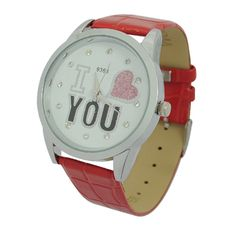 Ladies Wrist Watch Red with I LOVE YOU Pattern - http://ucables.com/product/ladies-wrist-watch-red-with-i-love-you-pattern/