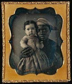 Nurse and child hand colored daguerreotype circa 1850. Found on sisterwolf.tumbler.com.