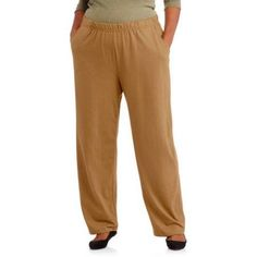 White Stag Women's Plus-Size Knit Pull-On Pants, Available in Regular and Petite Lengths, Size: 4XL, Brown