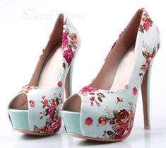 Retro Flower-Print Peep-toe Platform Stiletto Heels