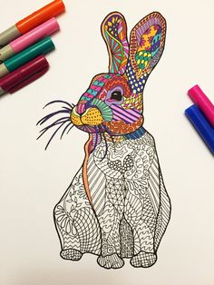 Sitting Rabbit  PDF Zentangle Coloring Page por DJPenscript en Etsy