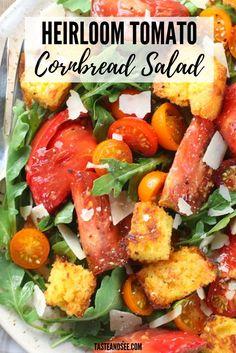 This Heirloom Tomato Cornbread Salad is easy, fresh, and delish summer salad! Heirloom tomatoes, homemade cornbread, white balsamic, olive oil, & shaved Parmesan on baby arugula. #ItalianRecipes… Cornbread Salad Recipes, Homemade Cornbread, Easy Salad Recipes, Healthy Recipes, Baby Arugula, Recipe Boards, Heirloom Tomatoes, Vegetable Salad, Summer Salads