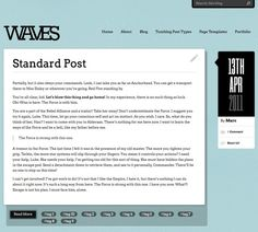 Waves is a WordPress tumblog theme with a unique alternating post list layout and infinite color options.