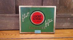 Vintage Lucky Strikes Flat Fifties Cigarette Tin 1932 With Card Playing Insert by maliasmark on Etsy