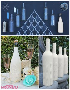 upcycle old bottles with spray paint and puffy paint. @Jess Pearl Liu Lynch another project for your wine bottles..