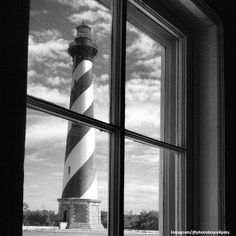 Black & White Cape Hatteras Lighthouse on the Outer Banks of North Carolina