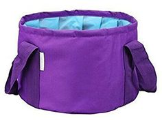 EVERJOYS 15L Premium Quality Collapsible Water Bucket Multifunctional folding Bucket with Carrying Pouch Perfect Gear for Fishing Camping Travelling Hiking Outdoor Activities Purple >>> You can get additional details at the image link.Note:It is affiliate link to Amazon.